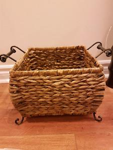 steel handle  wicker basket