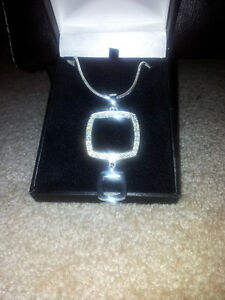 Beautiful Two Tier Square designer necklace $1525.00 value London Ontario image 1