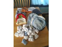 Baby boy bibs,mitts and hats
