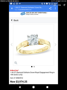 1.00CT Diamond Solitaire Crown Royal Engagement Ring In 14K Gold