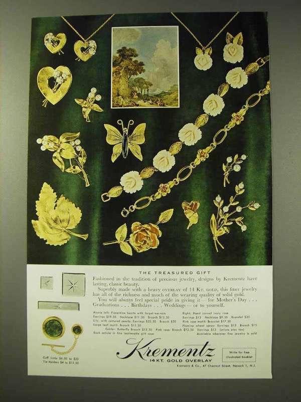 1964 Krementz Jewelry Ad - The Treasured Gift