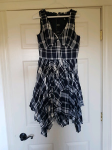 Miss Sixty Blue Plaid Ruffle Dress
