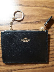 Coach Mini Card Case in Black pebbled leather - OBO