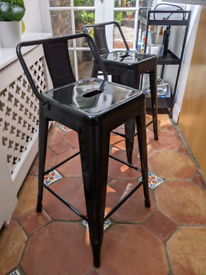 Bar Stools Tolix Style Black X 2