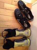 Nike soccer cleats size 2/Reebok shin guards