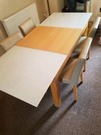 Extendable wood/glass dining table 4 chairs