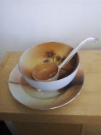 Vintage sauce bowl & stand