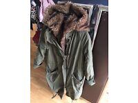 Top shop fur hooded coat