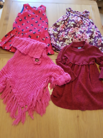 12 - 18 month baby girl clothes. 3 dresses and poncho.