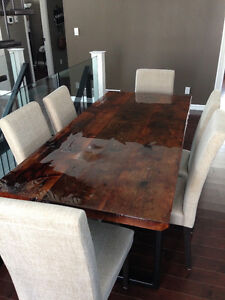 Reclaimed Rustic Barn Board Harvest Table with Chairs Kingston Kingston Area image 2