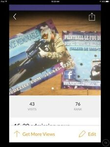 """""""Paintball""""8heures/20 pers/10$."""