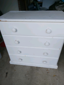 Small painted white chest of drawers