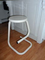 Two Really Solid Modern Style White Metal Stools