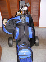 Golf Clubs, Bag and Cart.