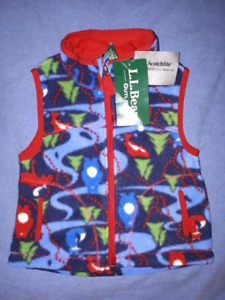 LL Bean Toddler Christmas Holiday Fleece Vest,3T,New with Tags
