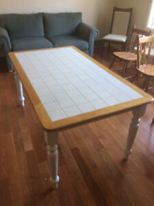 Tile and Pine Dining Room Table