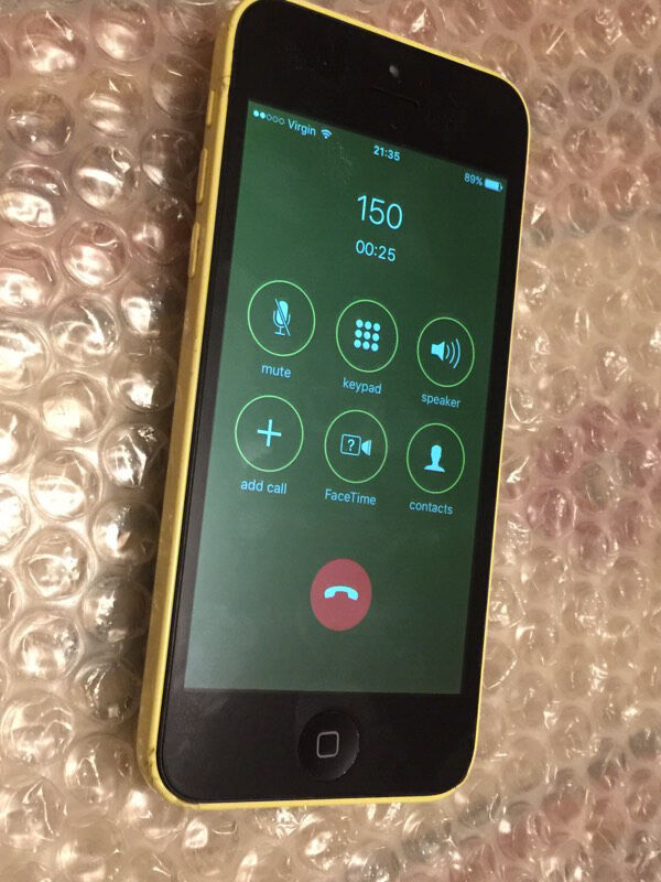 iPhone 5c 8GB yellow ee virgin networks