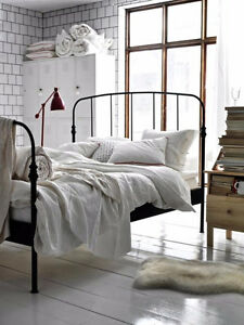 Lillesand Black metal double bed frame IKEA