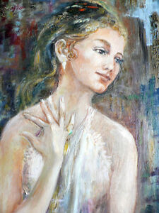 Beautiful Large Portrait Oil on Canvas