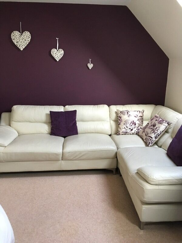 Cream Leather Corner Sofa And 2 Seater Sofa In Shiremoor Tyne And