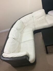 Leather corner sofa (cream white and dark brown)