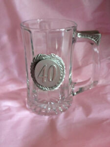 BRAND NEW BEER GLASS 40 YEARS OLD BIRTHDAY/ANNIVERSARY