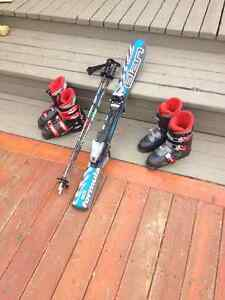 Kids complete set, skis, boots and poles
