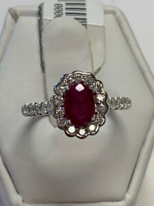 (NEW) 1.14CT RUBY HALO DIAMOND RING 14K WG ON SALE NOW !