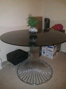 modern table tempered glass and chrome legs
