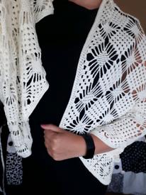 cream/white cardi shawl hand knitted