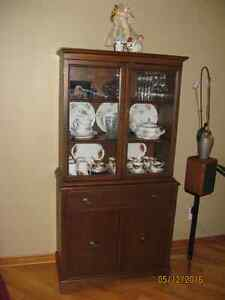 Solid Wood Antique China Cabinet Walnut Stain