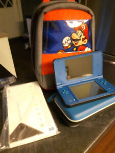Nintendo DS XL Blue Model with case, carry case, and 6 games