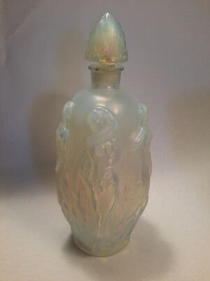 """Sabino France Opalescent 5 Nude Nymphs Art Glass Perfume Bottle. 6"""""""