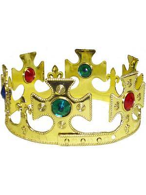 Royal Gold Crown Adults Fancy Dress Mens Ladies Medieval King & Queen Accessory ()