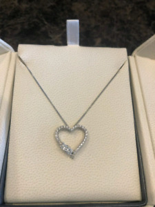 """""""4 ever us"""" peoples heart diamond charm and necklace for $650"""