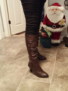 Dark brown leather stiletto boots, size 10, worn once, $40 ono St. John's Newfoundland image 9
