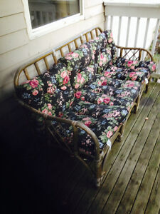 Wicker emporium couch & cushions