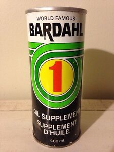 Full vintage Bardahl 1 motor oil supplement tin can