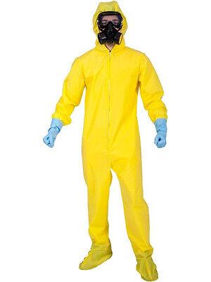 Yellow Hazmat Bad Chemist Fancy Dress Costume Cook Suit Outfit Gas (Fancy Dress Gasmaske)