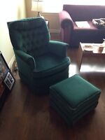 Dark Green Chair and Footrest