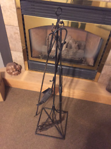 Antique long arm fireplace set