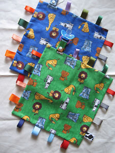 Tag Blankets with Pacifier Clip