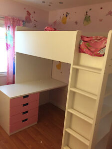 Loft bed , with desk, closet drawers , and shelves