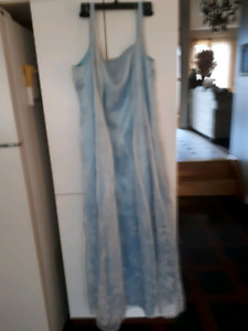 Baby blue long graduation dress