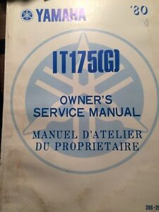 1980 Yamaha IT175G Owners Service Manual