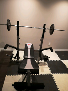 Home gym bench press with weights and bars $130obo