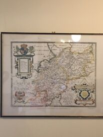 Saxtons Framed map Leicestershire and Warwickshire