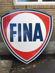 Fina Motor Oil Porcelain Double Sided Sign with Frame