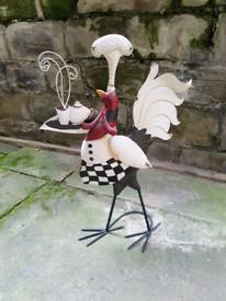 Metal bird chef kitchen ornament