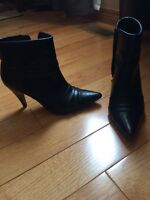 Black leather short booties, tall boots, heels